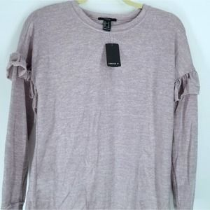 Forever 21 Med Mauve Ruffled Long Sleeve Top